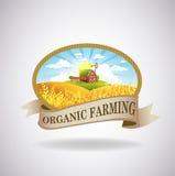 Etiqueta com a imagem de uma exploração agrícola ilustração stock