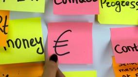 Etiqueta com mudança do dólar do símbolo de moeda ao euro- símbolo vídeos de arquivo