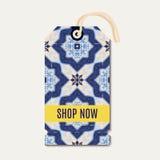 Etiqueta com os azulejos azuis portugueses do ornamento Fotografia de Stock