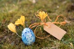 Etiqueta com ovo da páscoa e açafrões Fotografia de Stock Royalty Free