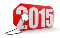 Etiqueta com 2015 (trajeto de grampeamento incluído) Foto de Stock