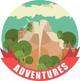 Etiqueta com uma imagem da natureza da paisagem da montanha na forma redonda Fotografia de Stock
