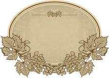 Etiqueta com uvas, mão-desenho. Illustrati do vetor ilustração do vetor