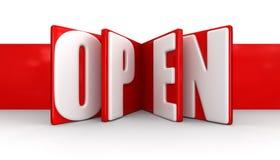 Etiqueta con abierto (trayectoria de recortes incluida) Foto de archivo libre de regalías