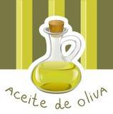 Etiqueta con aceite de oliva Imagen de archivo