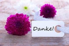 Etiqueta con Danke Fotos de archivo libres de regalías