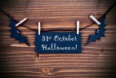Etiqueta con el 31 de octubre Halloween Imagen de archivo libre de regalías