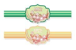 Etiqueta con el estampado de flores Imagen de archivo libre de regalías