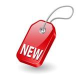 Etiqueta con el nuevo mensaje Imagen de archivo libre de regalías