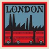 Etiqueta con el texto Londres y Decker Bus doble rojo libre illustration