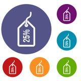 Etiqueta con 25 iconos del descuento fijados Imagen de archivo libre de regalías