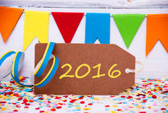 Etiqueta con la decoración del partido, texto 2016 Imagenes de archivo