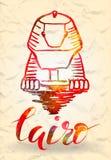 etiqueta con la etiqueta dibujada mano de El Cairo con la esfinge dibujada mano, poniendo letras a El Cairo con el terraplén rojo Imagenes de archivo