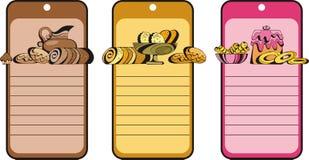 Etiqueta con las tortas stock de ilustración