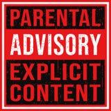 Etiqueta contenta explícita consultiva parental con textura del grunge ilustración del vector
