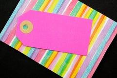 Etiqueta cor-de-rosa do cartão fotos de stock