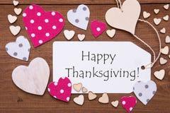A etiqueta, corações cor-de-rosa, Text a ação de graças feliz Imagens de Stock