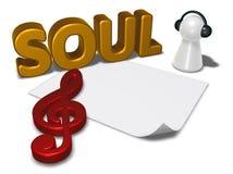 Etiqueta da alma, folha vazia do Livro Branco e penhor com fones de ouvido Imagens de Stock Royalty Free