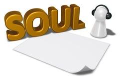 Etiqueta da alma, folha vazia do Livro Branco e penhor com fones de ouvido Fotos de Stock Royalty Free