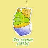 Etiqueta da aquarela do gelado do pistache Foto de Stock