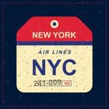 Etiqueta da bagagem do vintage com textura velha do grunge Etiqueta para o aeroporto Ilustração lisa EPS 10 do vetor Foto de Stock