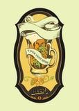 A etiqueta da cerveja com caneca Imagem de Stock