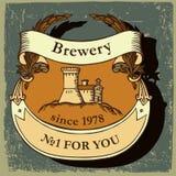 Etiqueta da cerveja com cervejaria Imagens de Stock