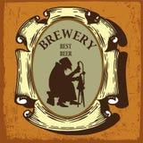 Etiqueta da cerveja com cervejaria e alquimista Fotografia de Stock