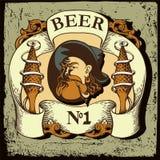 Etiqueta da cerveja com o homem de mar idoso Foto de Stock