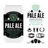 Etiqueta da cerveja do vetor na lata de alumínio ilustração do vetor