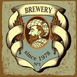 Etiqueta da cerveja para a cervejaria com homem dos desenhos animados Imagem de Stock