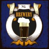 Etiqueta da cerveja para o restaurante da cervejaria com beerglass Foto de Stock