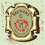 Etiqueta da cerveja para o restaurante da cervejaria com caneca de cerveja Imagem de Stock Royalty Free