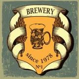 Etiqueta da cerveja para o restaurante da cervejaria com lúpulo Foto de Stock