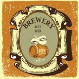 Etiqueta da cerveja para o restaurante da cervejaria com tun da cerveja Fotografia de Stock Royalty Free