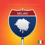 A etiqueta da cidade e o mapa de Itália no estilo americano dos sinais Fotos de Stock