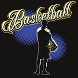 Etiqueta da cor do basquetebol com jogador ilustração do vetor