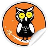 Etiqueta da coruja de Halloween Fotografia de Stock Royalty Free
