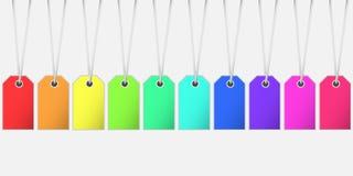 Etiqueta da etiqueta de preço em cores do raimbow com o cort que pendura da parte superior Imagens de Stock Royalty Free