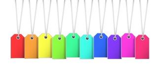 Etiqueta da etiqueta de preço em cores do raimbow com o cort que pendura da parte superior Fotografia de Stock