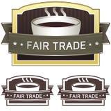 Etiqueta da etiqueta do café do comércio justo Foto de Stock Royalty Free