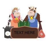 Etiqueta da exploração agrícola do senhor e da vaca do missis Foto de Stock