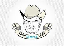 Etiqueta da face do cowboy Fotografia de Stock Royalty Free