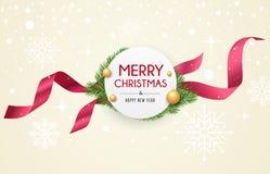 A etiqueta da fita do Feliz Natal, bandeiras projeta na neve e na estrela ilustração royalty free