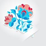Etiqueta da flor dos desenhos animados com lugar do texto Ilustração Stock