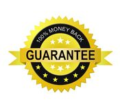Etiqueta da garantia da parte traseira do dinheiro Foto de Stock Royalty Free