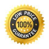 etiqueta 100% da garantia do preço baixo Fotografia de Stock