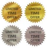 Etiqueta da garantia da oferta do tempo limitado ilustração stock