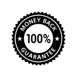 Etiqueta 100% da garantia da parte traseira do dinheiro ilustração stock