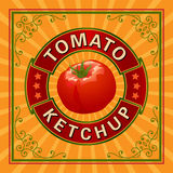 Etiqueta da ketchup de tomate Fotografia de Stock Royalty Free
